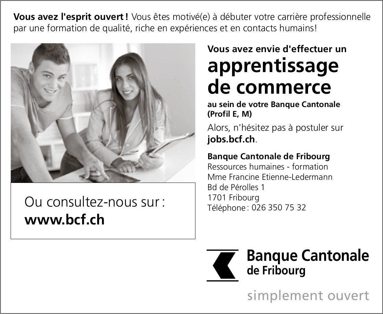 Apprentissage de commerce, Banque cantonale, Fribourg,  recherché