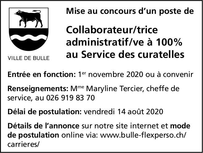 Collaborateur/trice administratif/ve à 100% au Service des curatelles, Ville De Bulle,  concours