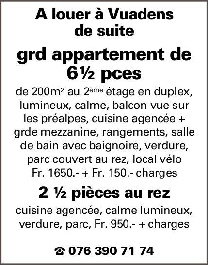 Grand appartement, 6½ pièces, Vuadens,  à louer