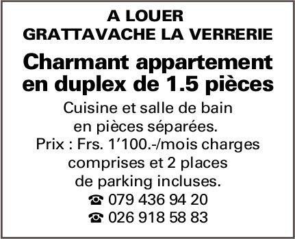 Charmant appartement en duplex de 1.5 pièces, Grattavache La Verrerie, à louer