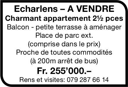 Charmant appartement 2½ pièces, Echarlens,  à vendre