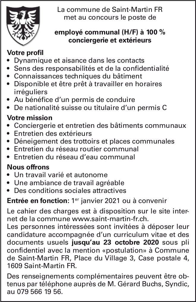 Employé communal (h/F) à 100 % conciergerie et extérieurs, La commune de Saint-Martin FR, recherché