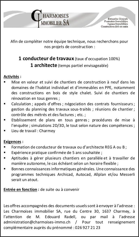 1 conducteur de travaux 100% et 1 architecte, Les Charmoises immobilier SA, Charmey,  recherché