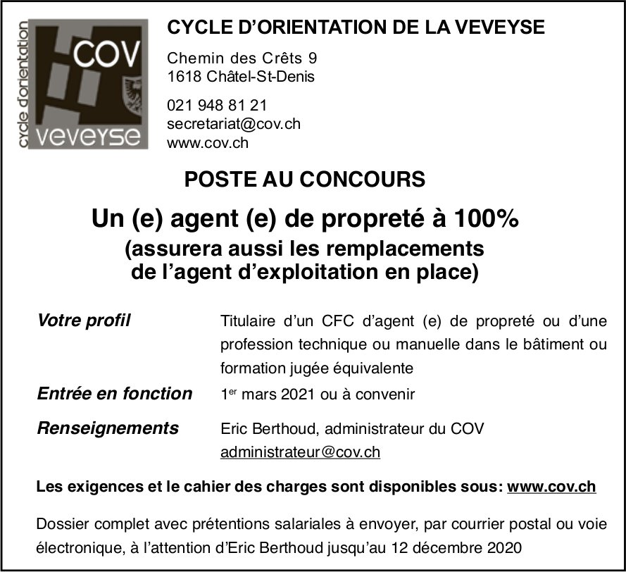 Un (e) agent (e) de propreté à 100%, Cov, Châtel-St-Denis, recherché