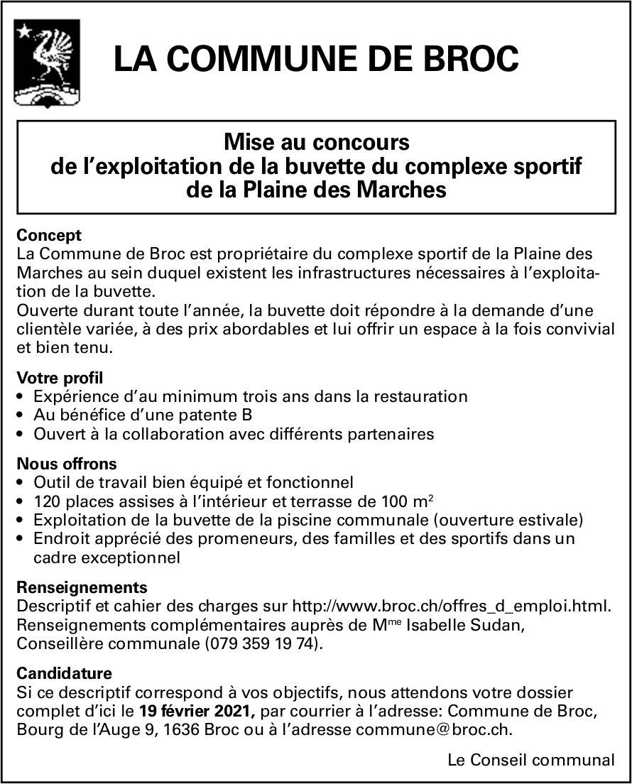 Mise au concours de l'exploitation de la buvette, Complexe sportif de la Plaine des Marches, Broc, recherché