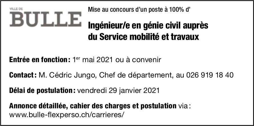 Ingénieur/e en génie civil auprès du Service mobilité et travaux, Ville de Bulle, recherché