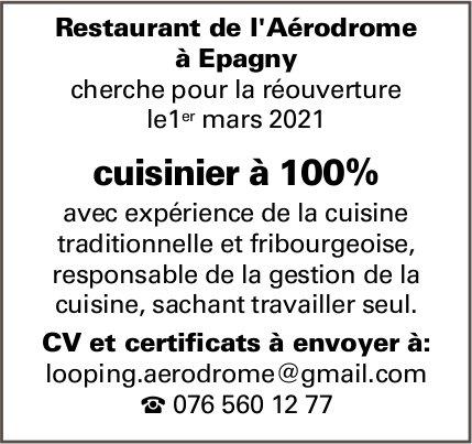 Cuisinier à 100%, Restaurant de l'Aérodrome, Epagny, recherché