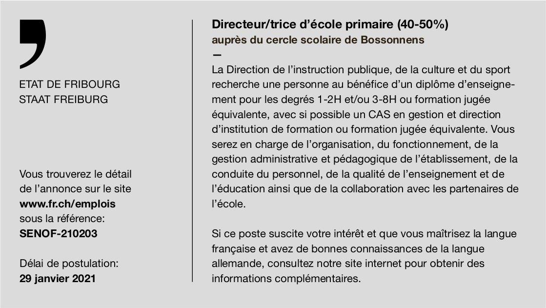 Directeur/trice d'école primaire (40-50%), Bossonnens, recherché