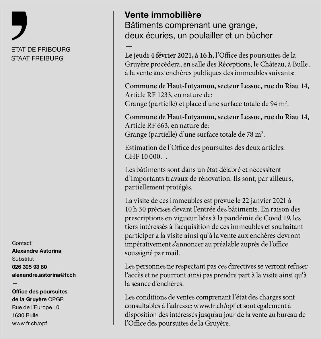 Vente immobilière, Etat de Fribourg, Bulle, à vendre