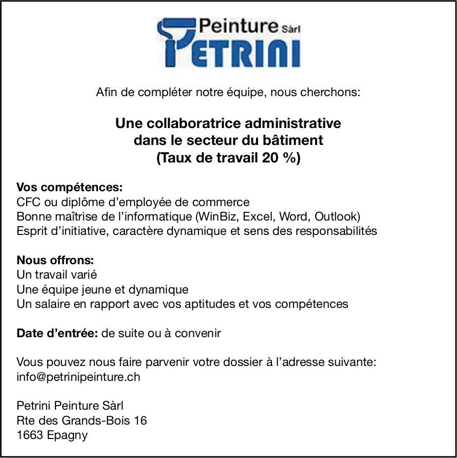 Une collaboratrice administrative (Taux de travail 20 %), Petrini Peinture Sàrl, Epagny, recherché