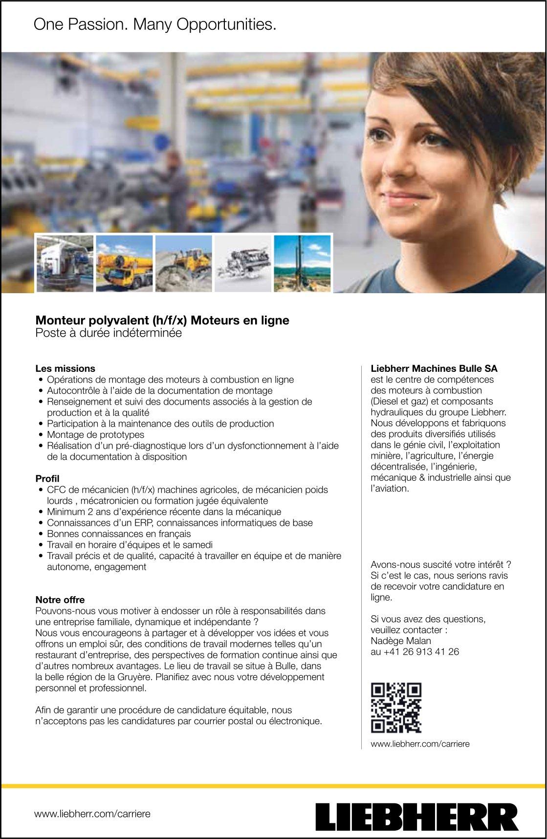 Monteur polyvalent (h/f/x) Moteurs en ligne, Liebherr Machines Bulle SA, recherché