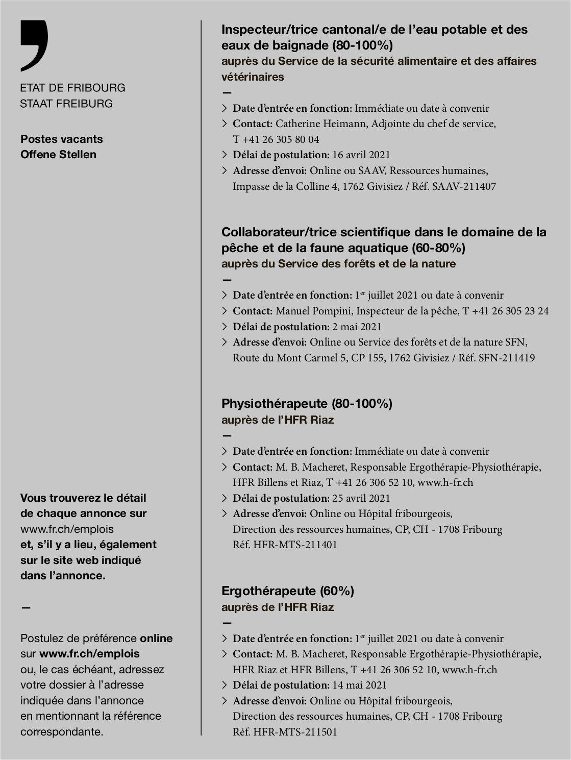 Inspecteur/trice cantonale-Physiothérapeute (80-100%) Ergothérapeute (60%), Etat de Fribourg, recherché