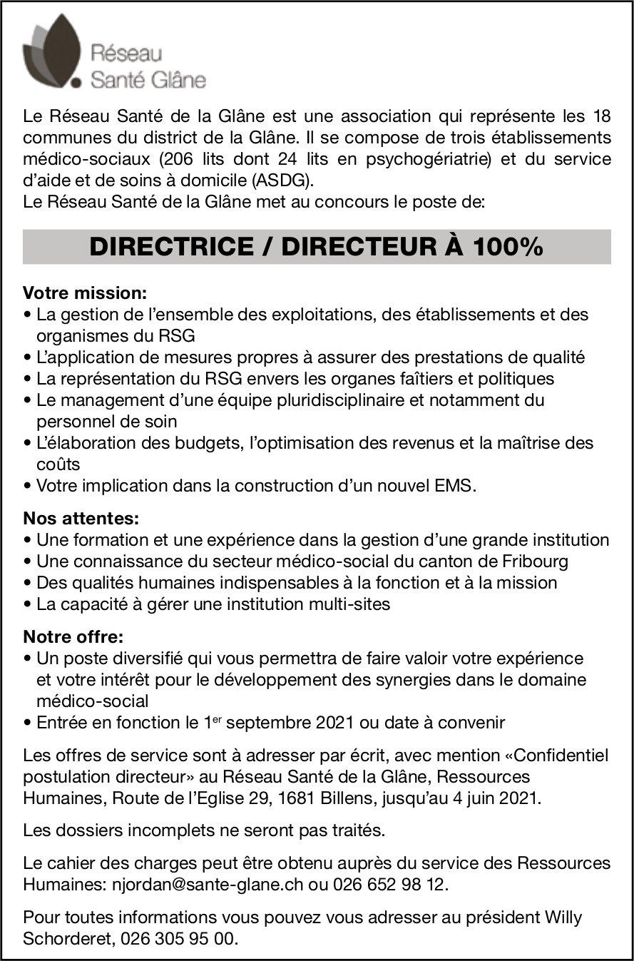 DIRECTRICE / DIRECTEUR À 100%, Réseau Santé Glâne, Billens, recherché