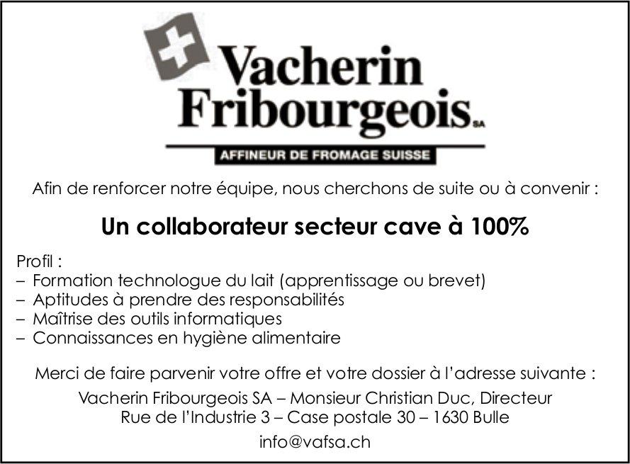 Un collaborateur secteur cave à 100%, Vacherin Fribourgeois SA, Bulle, recherché