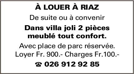 2 pièces meublé tout confort dans joli villa, Riaz, à louer