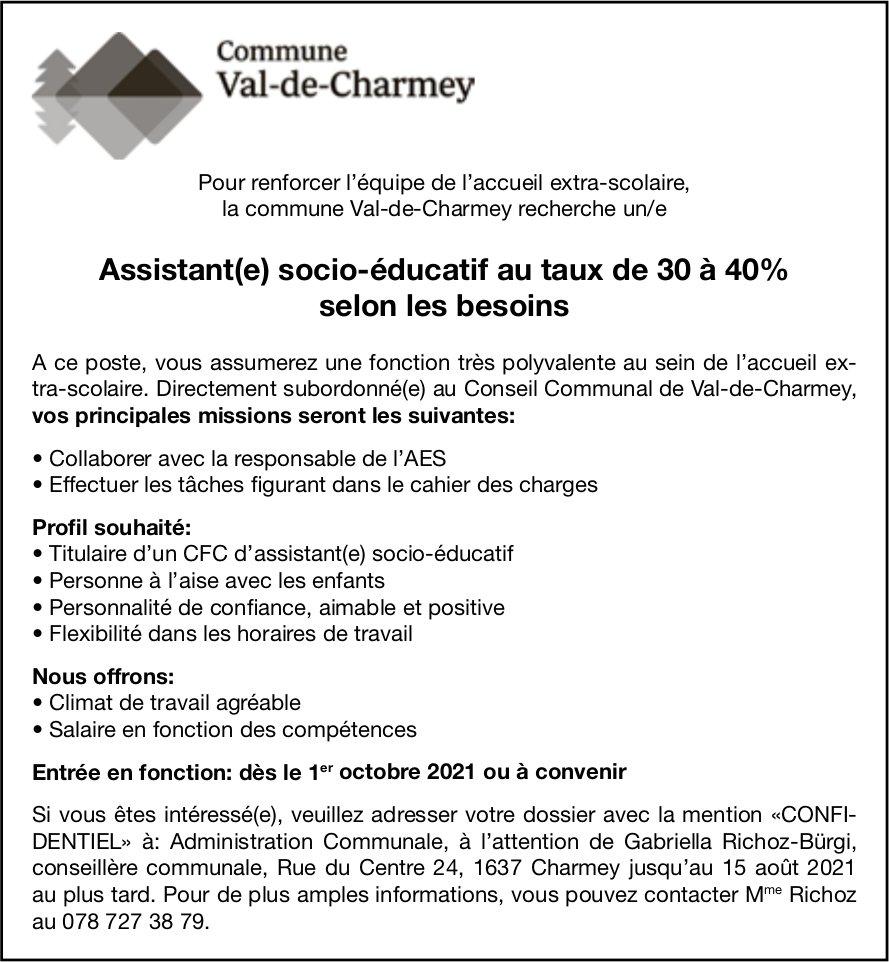 Assistant(e) socio-éducatif au taux de 30 à 40% selon les besoins, Commune Val-de-Charmey, recherché