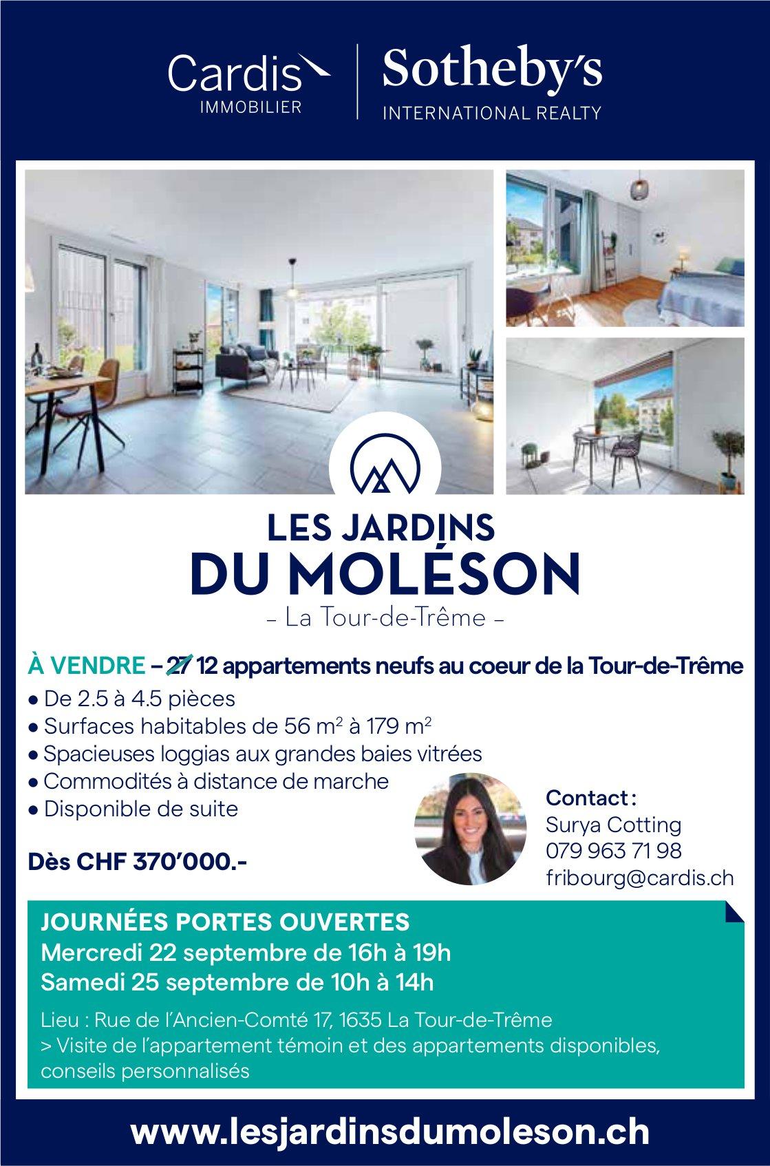 12 appartements neufs de 2½ à 4½ pièces, LA Tour-de-Trême, à vendre