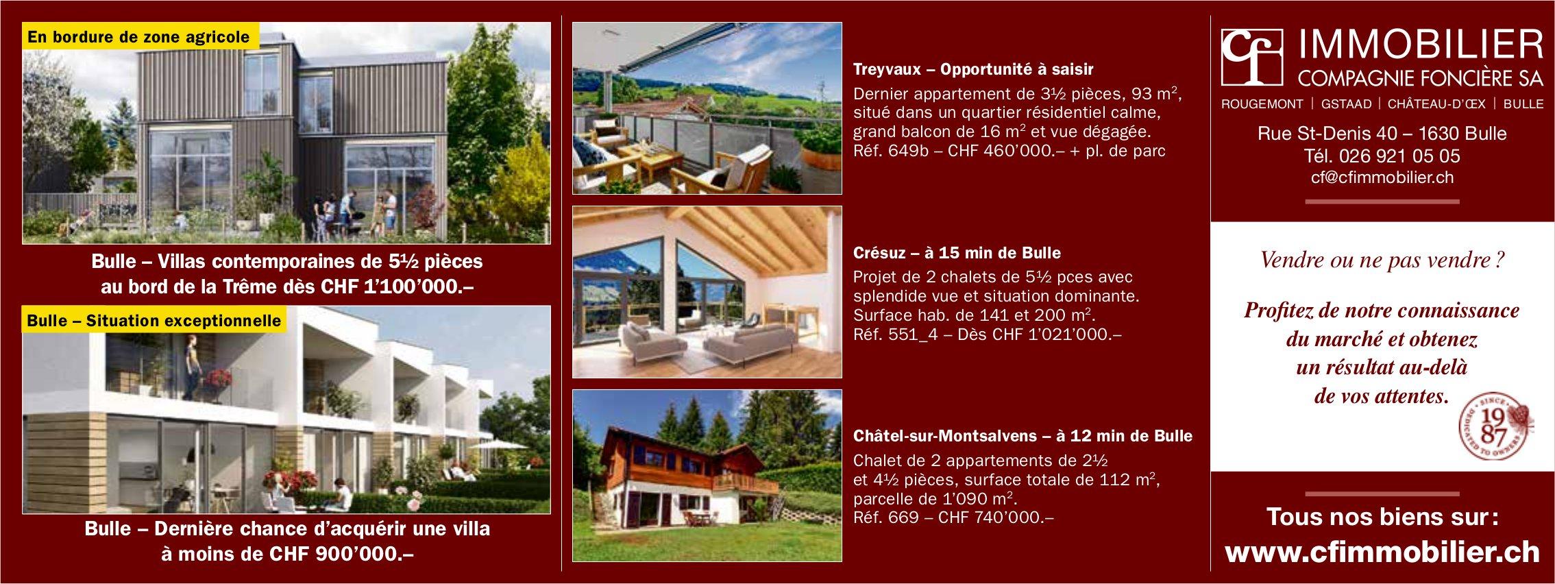 Villas - Appartement - Chalets, Bulle, à vendre