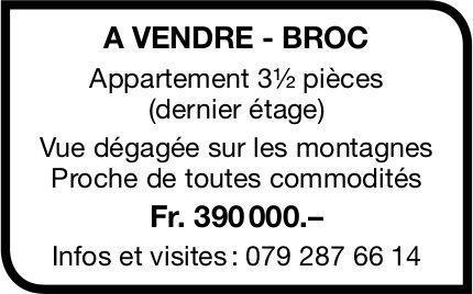 Appartement, 3½ pièces, Broc, à vendre