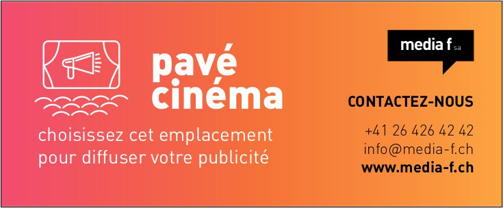 Media f SA - pavé cinéma - choisissez cet emplacement pour diffuser votre publicité