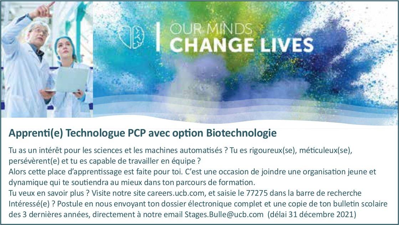 Apprenti(e) Technologue PCP avec option Biotechnologie, UCB, recherché