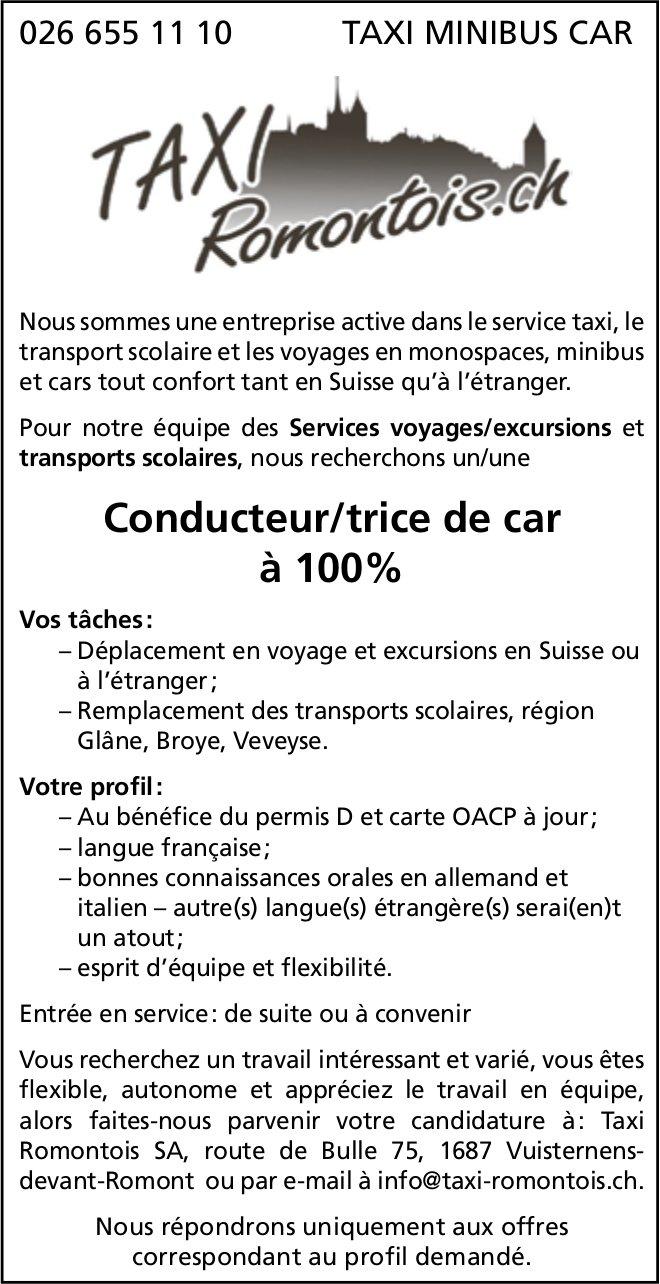 Conducteur/trice de car à 100%, Taxi Romontois SA, Vuisternens, recherché