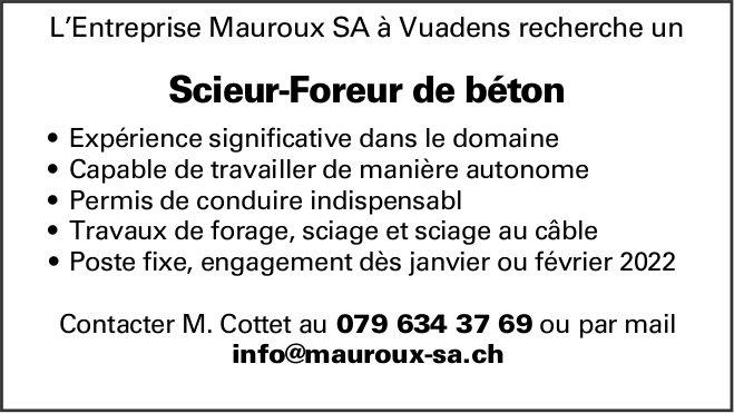 Scieur-Foreur de béton, L'Entreprise Mauroux SA, Vuadens, recherché