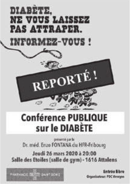 Conférence publique sur le Diabète, 26 mars, reporté