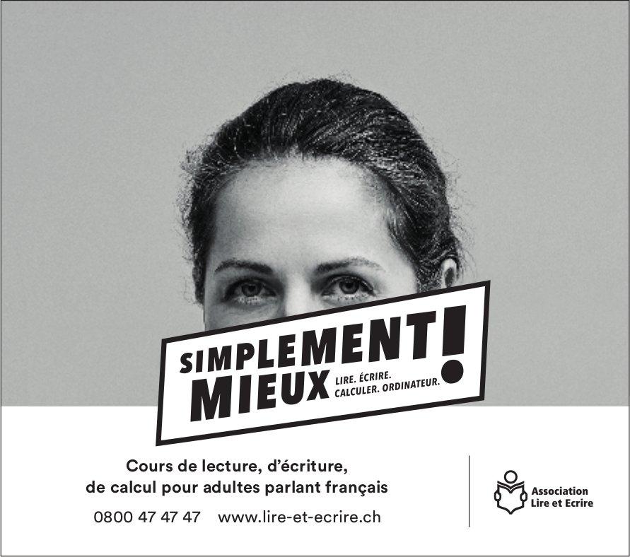 Association Lire et Ecrire, Cours de lecture,  d'écriture de calcul pour adultes parlant français