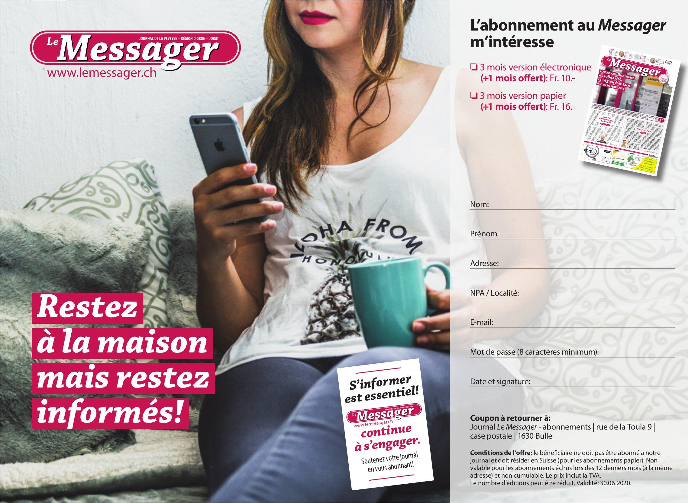 Le Messager - Restez à la maison mais restez informés!