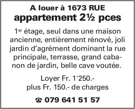 Appartement 2.5 pièces, Rue, à louer