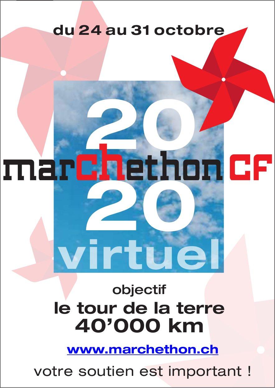 Marchethon virtuel 2020, 24 au 31 octobre, objectif le tour de la terre 40'000 km