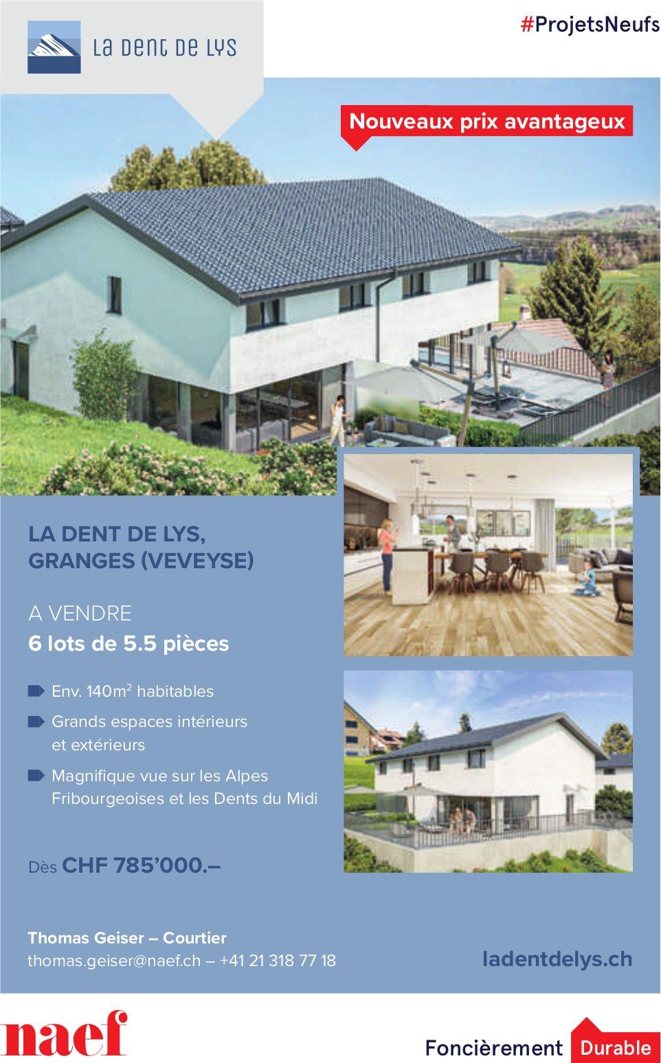 LA DENT DE LYS, 6 lots de 5.5 pièces, Granges (Veveyse), à vendre