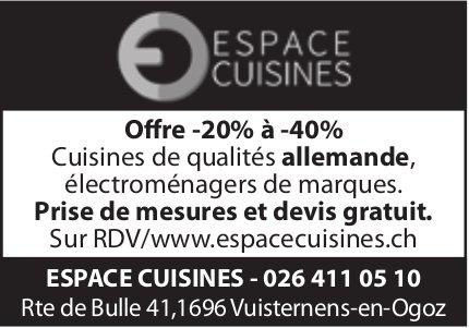 Espace Cuisines, Vuisternens-en-Ogoz - Offre -20% à -40% cuisines de qualités allemande
