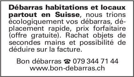 Bon Debarras, Débarras habitations et locaux partout en Suisse