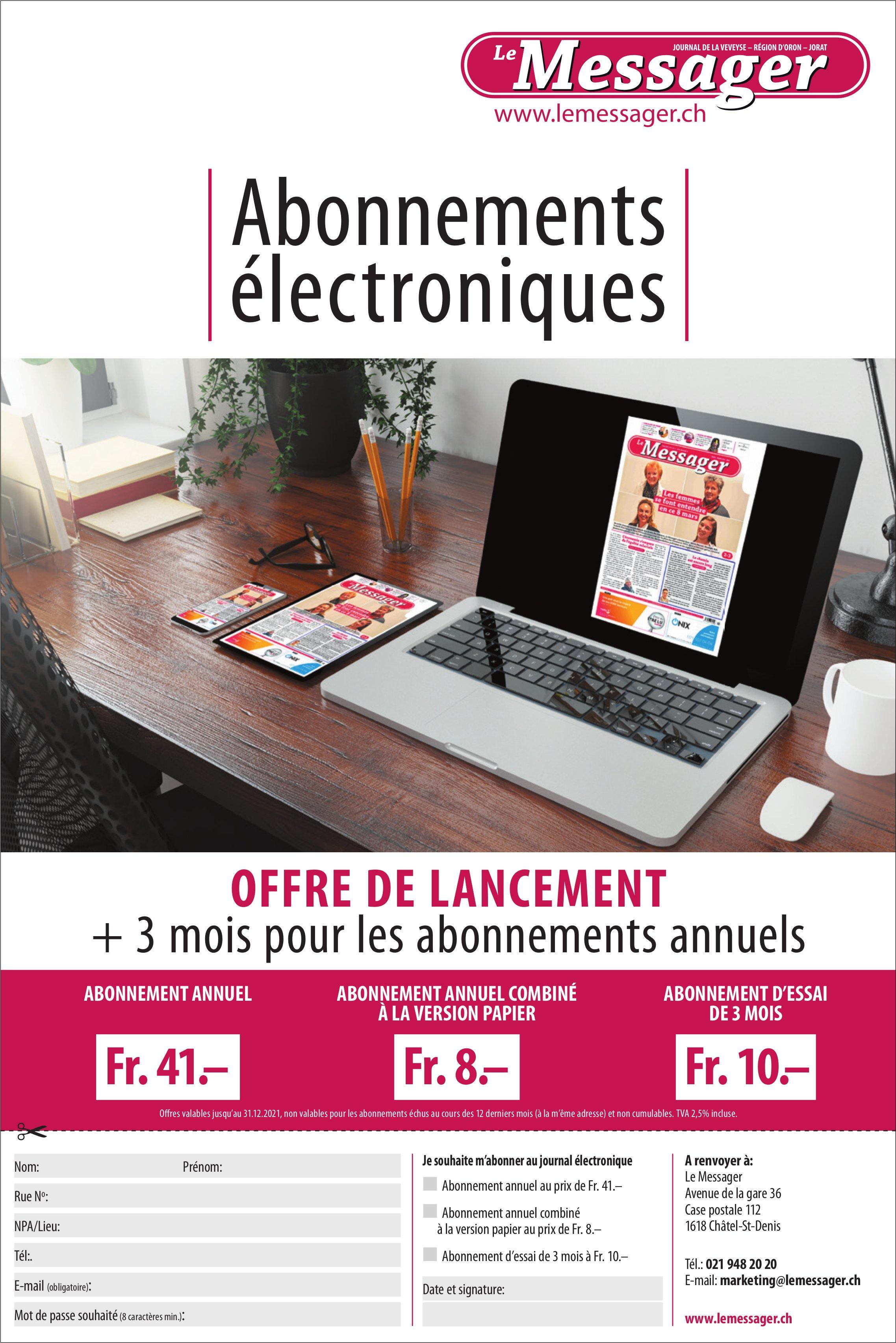 Le Messager -  Abonnements électroniques offre de lancement 3 mois