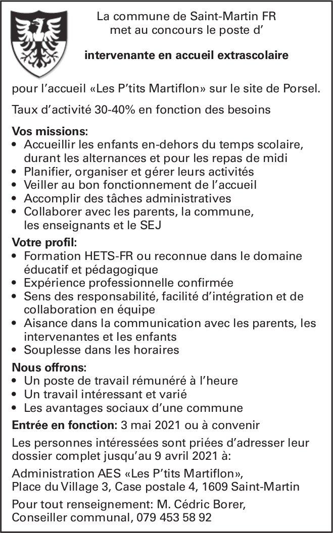 Intervenante en accueil extrascolaire 30-40%, commune de Saint-Martin, recherché