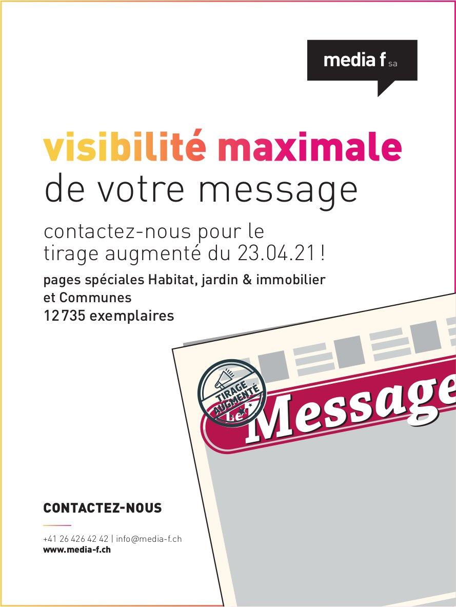 Media f SA, visibilité maximale de votre message tirage augmenté du 23 avril