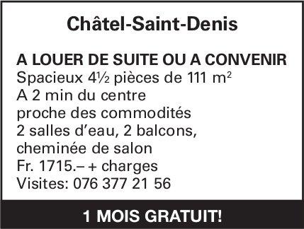 Appartement spacieux 4.5 pièces, Châtel-St-Denis, à louer