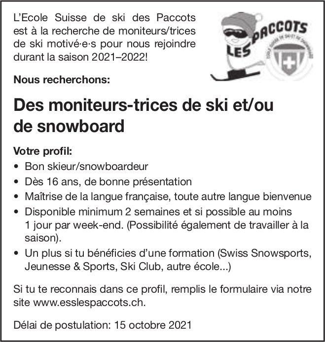 Des moniteurs-trices de ski et/ou de snowboard, L'Ecole Suisse de ski des Paccots, recherché