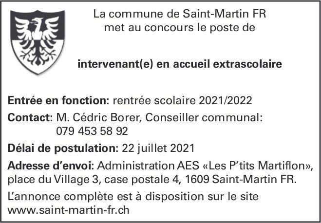 Intervenant(e) en accueil extrascolaire, Commune de Saint-Martin,  recherché