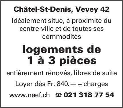 Appartements logements de 1 à 3 pièces, Châtel-St-Denis, à louer