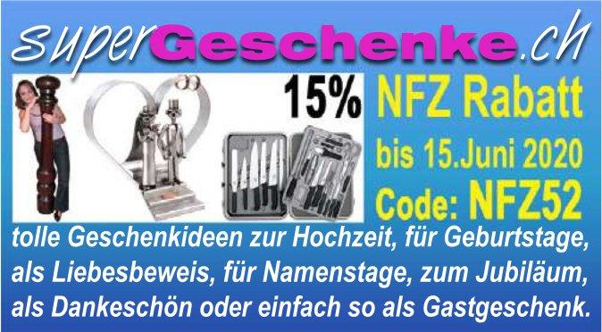 NFZ Rabatt bis 15. Juni, 15. Juni, Super Geschenke.ch