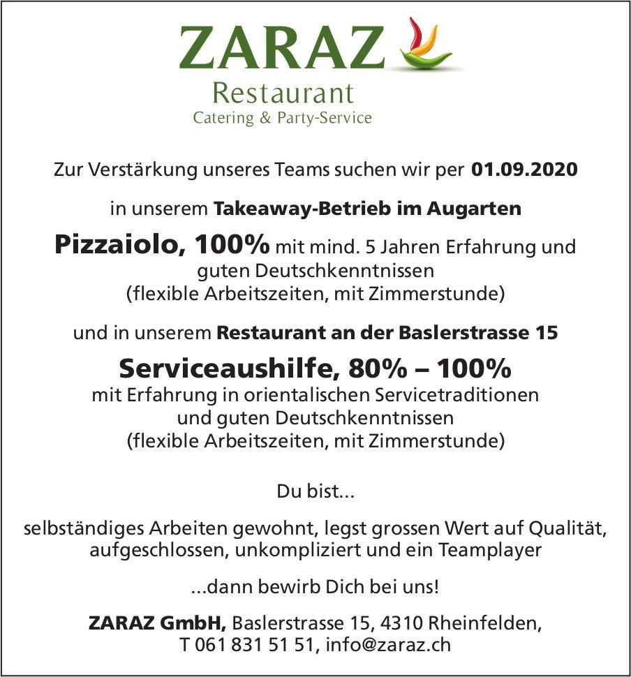 Pizzaiolo,  100% Serviceaushilfe,  80% – 100%, Zaraz GmbH, Rheinfelden, gesucht