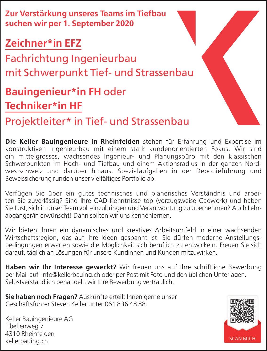Zeichner*in EFZ + Bauingenieur*in FH oder Techniker*in HF, Keller Bauingenieure AG, gesucht