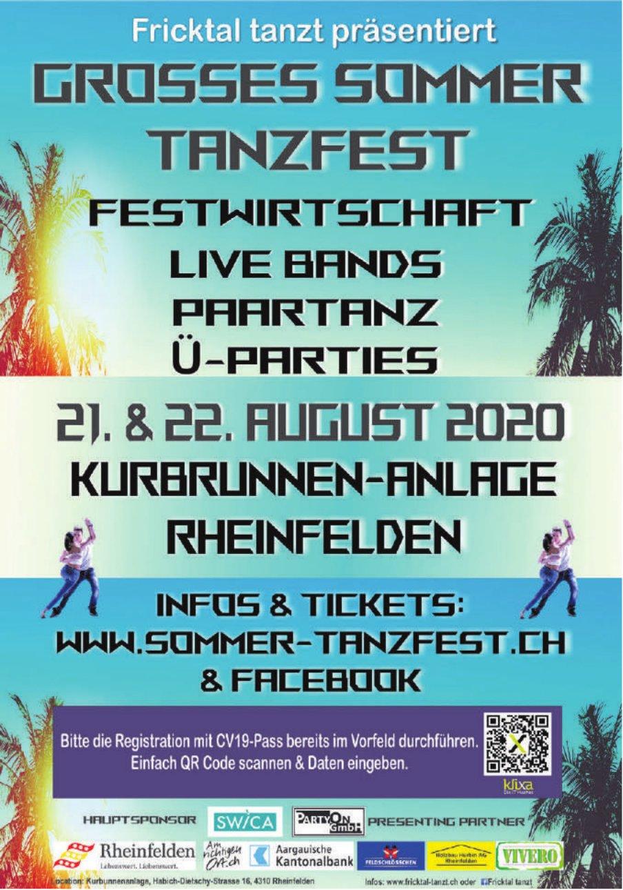 Fricktal tanzt präsentiert grosses Sommer Tanzfest,  21. & 22. August, Rheinfelden