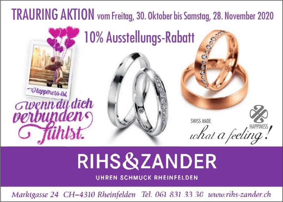 Trauring Aktion vom Freitag, 30. Oktober bis Samstag,  28. November 2020, Rihs & Zander, Rheinfelden