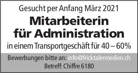 Gesucht per Anfang März 2021 Mitarbeiterin für Administration in einem Transportgeschäft für 40 – 60%, gesucht