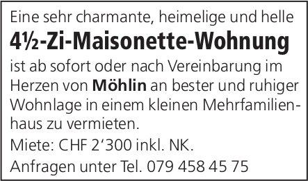 4½-Zi-Maisonette-Wohnung, Möhlin, zu vermieten