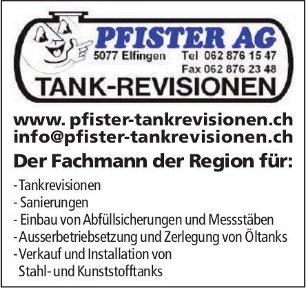 Pfister AG Tank-Revisionen, Elfingen - Der Fachmann der Region für...